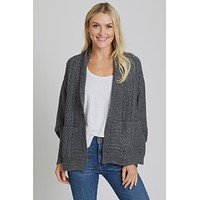 Look By M Cable Pocket Shrug Cape Cardigan