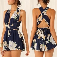 Fashion Flower Print Deep V Sleeveless Backless Crisscross Bandage Mini Dress