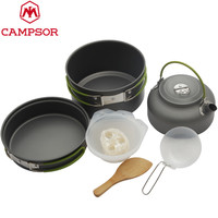 2-3 People Portable Outdoor Cooking Set Pot Bowl Teapot Coffee Kettle Set Cookware Tableware Camping Picnic Hiking Utensils