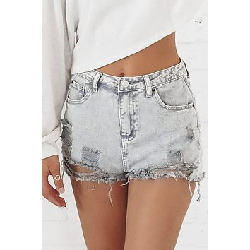 Feeling Everything But Gray Distressed Shorts