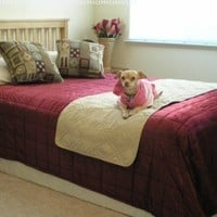 """Quilted Beige 20x72"""" Bonded or Classic Micro Suede Pets Bed Pad Protector Runner for Twin Full Queen Bed"""