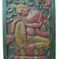 Indian Interior Wall Hanging Resting Buddha Hand Carved Yoga Panels 36 X 48