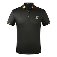 LV New fashion embroidery letter couple lapel top t-shirt Black