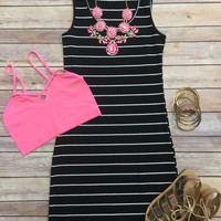 Ribbed Striped Tank Dress: Black