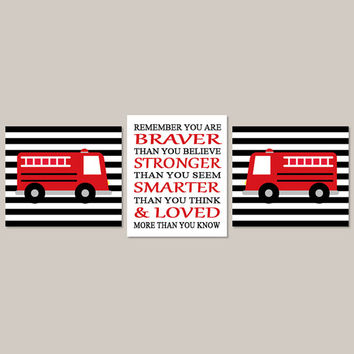 FIRE TRUCK Wall Art, Baby Boy Nursery Art, You Are Braver, Fire Engine, Fireman Fire Truck Theme Set of 3 Prints Or Canvas Black Red Nursery