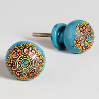 Turquoise Painted Round Wooden Knobs, Set of 2