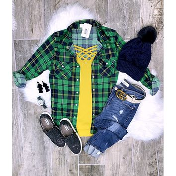 Penny Plaid Flannel Top - Green/Yellow
