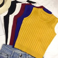 Summer Women Slim Knitting Cropped Tank Tops Female Knitted Camis Sleeveless Solid T shirts Crop Tops