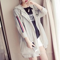 """Adidas"" Women Fashion Casual Multicolor Stripe Sun Protection Clothing Long Sleeve Cardigan Hooded Coat"