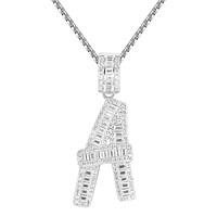 Sterling Silver Custom Baguette Bling A-Z Initials