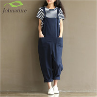Johnature 2017 Summer New Loose Women Rompers Cotton Mori Girl Pockets Plus Size Women Harajuku Casual Solid Rompers