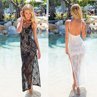 Lace Spaghetti Strap Split Beach Prom Dress [4970295044]