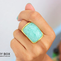 Mint Ring - Statement Ring- Gold Ring - Big Bold Ring - Cream Ring - Coral Ring - Cocktail Ring
