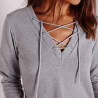 Missguided - Lace Up Cropped Sweatshirt Grey