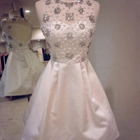 Gorgeous Gems White Backless Homecoming Dress