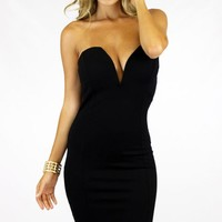DEEP V BODYCON - BLACK