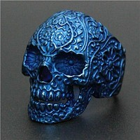 Blue Skull 💀 💍 Head Ring Stainless Steel Biker Style