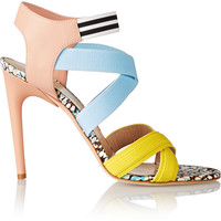 MSGM - Elasticated grosgrain and leather sandals