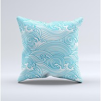 Abstract Blue & White Waves ink-Fuzed Decorative Throw Pillow