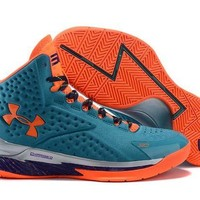 LMFON3A VAWA Men's Under Armor Curry 1 Basketball Shoes Orange