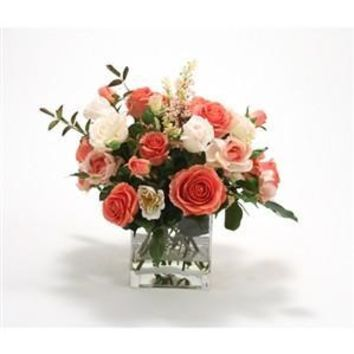 Silk Coral and Ivory Rose Mixture