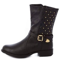 Quilted, Studded & Belted Mid-Calf Boots by Charlotte Russe - Black