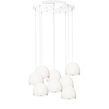 """5"""" Matte White & Silver Geode Crystal Stagger Chandelier- White Cord"""