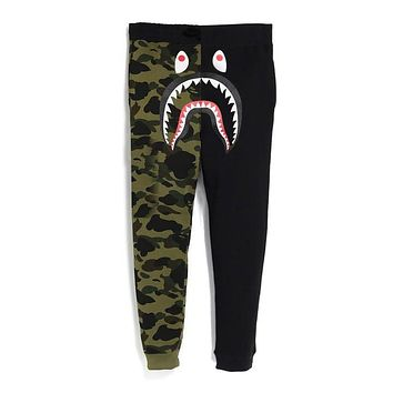 BAPE AAPE Fashion Casual Camouflage Joining Together Sport Pants Trousers Sweatpants Green&Black