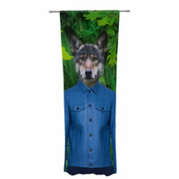 "Natt ""Into The Leaves N3"" Green Wolf Decorative Sheer Curtain"