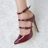 2017 Sweet Narrow Band Sexy Women Ladies High Heeled Evening Party Shoes Slingbacks Pumps Pointed Toe Party Sweet Narrow Band