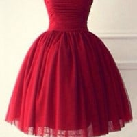 Hot Red Tulle Homecoming Dress