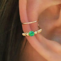 Ear Cuff, Green Opal Ear Cuff,  Fake Piercing, No Piercing, Double Cuff, Cartilage Cuff, Cuff, DOUBLE WRAP CUFF