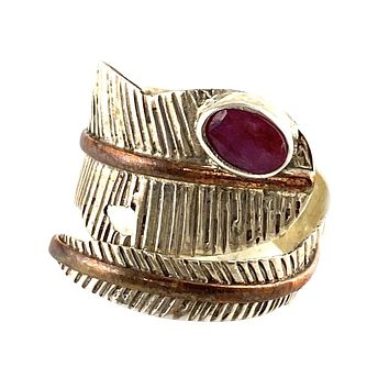 RubySterling Silver Two Tone Adjustable Leaf Wrap Ring