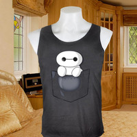 Baymax In Pocket Screenprint tanktop black  for woman size xs,s,m,l,xl,xxl