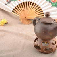 Handmade teapot with candle heating original unique cookware decorative kitchen