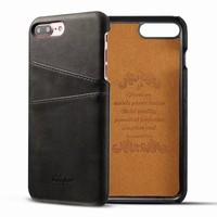 For Apple iPhone 8 Case Luxury Brand Leather With Card Cases Mobile Phone Shell Coque For iPhone 8 Plus Fitted Cases Back Cover