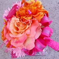 Pink Bridal Bouquet, Orange Silk Wedding Flowers, Rose Bouquet