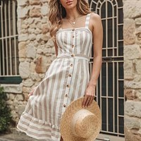 Casual striped linen cotton dress women Button strap beach dress Sexy backless midi ladies dresses vestidos