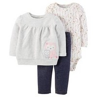 Baby Girls' 3-Piece Sweatshirt Set Owl Top with Jeggings Grey - Just One You™ Made by Carter's®
