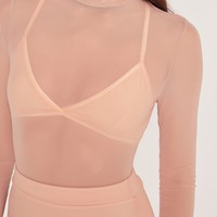 Missguided - High Neck Mesh Bodysuit Nude