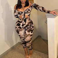 Women Sexy Leopard Print Off The Shoulder Hollow Out Jumpsuit