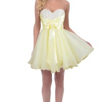 Faironly Girl's Yellow Short Prom Formal Dress (S)