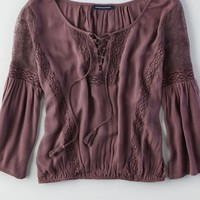 AEO Women's Lace Inset Peasant Top