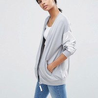 ASOS Bomber Jacket with Satin Panels in Boxy Fit Jersey at asos.com