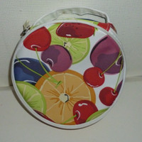 Clinique Fruit Cherries Orange Slices Strawberries Limes Cosmetic Bag Purse