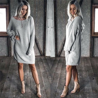 Women Casual Sweater Autumn Winter Knitted Plus Size Split Pullover Sweater