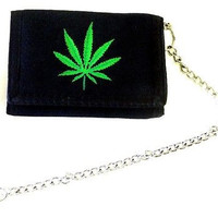 "Marijuana Weed Leaf on Black Wallet Unisex Men's 4.5"" x 3"" W-New in Package!"