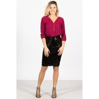 Holiday Sequin Pencil Skirt