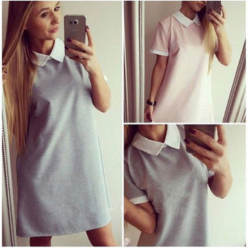 2016 Spring Summer Women Mini Dresss Short Sleeve Vestido Turn-down Collar Casual Dress Vestidos Femininos GV138