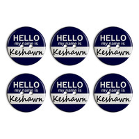 Keshawn Hello My Name Is Plastic Resin Button Set of 6